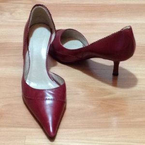 Zara red leather pumps